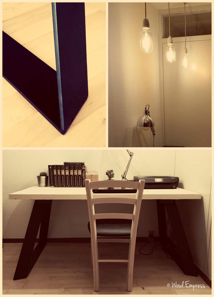 Skrivebord massivt træ m. designer bordben